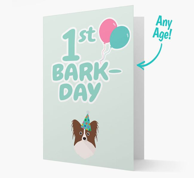 'Ages 1-18' Bark-day Card with Papillon Icon
