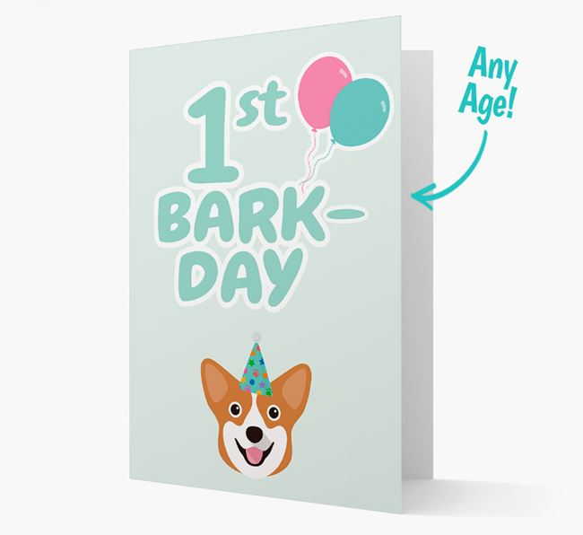 'Ages 1-18' Bark-day Card with Pembroke Welsh Corgi Icon