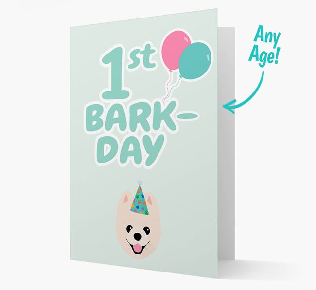 'Ages 1-18' Bark-day Card with Pomeranian Icon