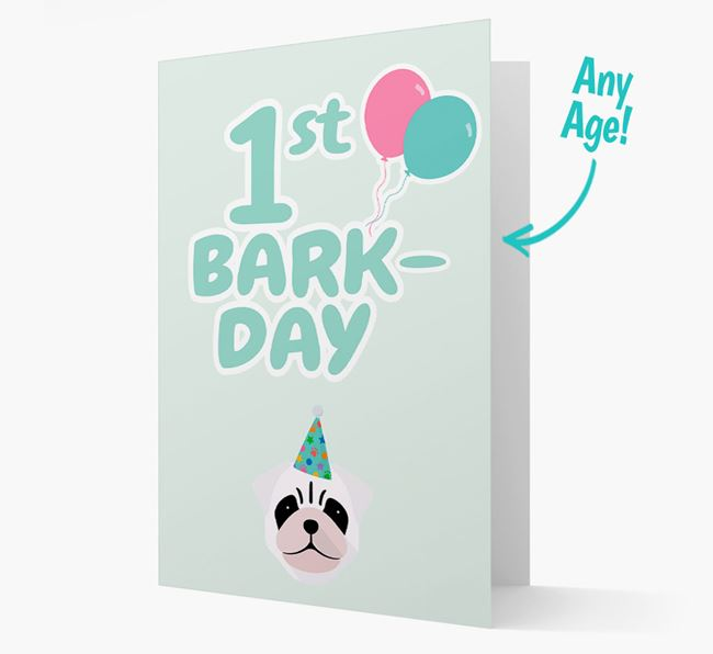 'Ages 1-18' Bark-day Card with Pug Icon