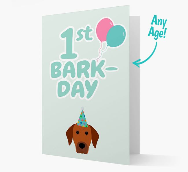'Ages 1-18' Bark-day Card with Rhodesian Ridgeback Icon