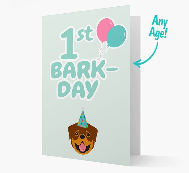 'Ages 1-18' Bark-day Card with Rottweiler Icon