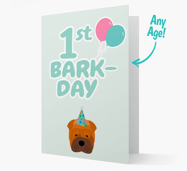 'Ages 1-18' Bark-day Card with Shar Pei Icon
