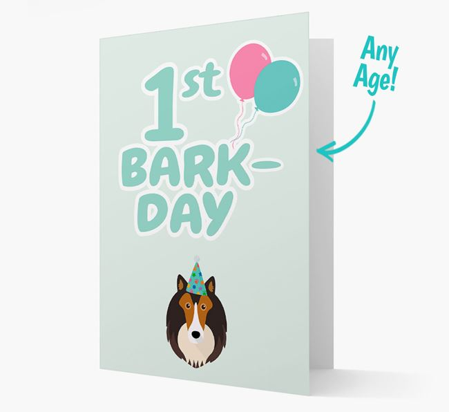 'Ages 1-18' Bark-day Card with Shetland Sheepdog Icon