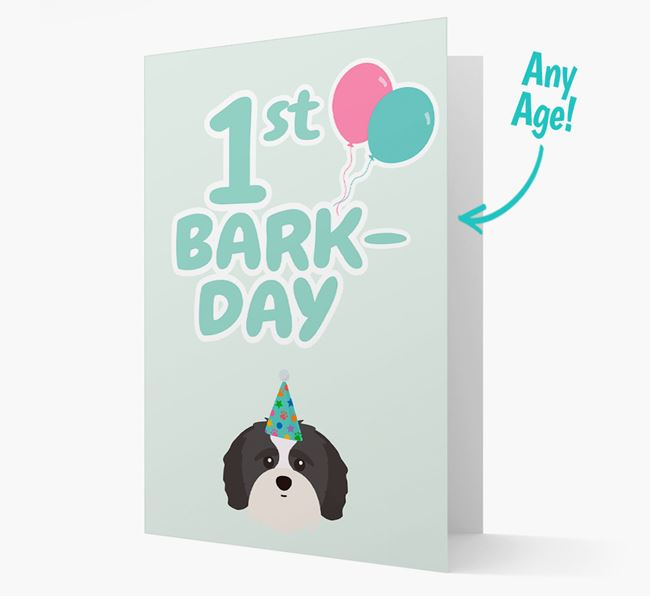 'Ages 1-18' Bark-day Card with Shih-poo Icon
