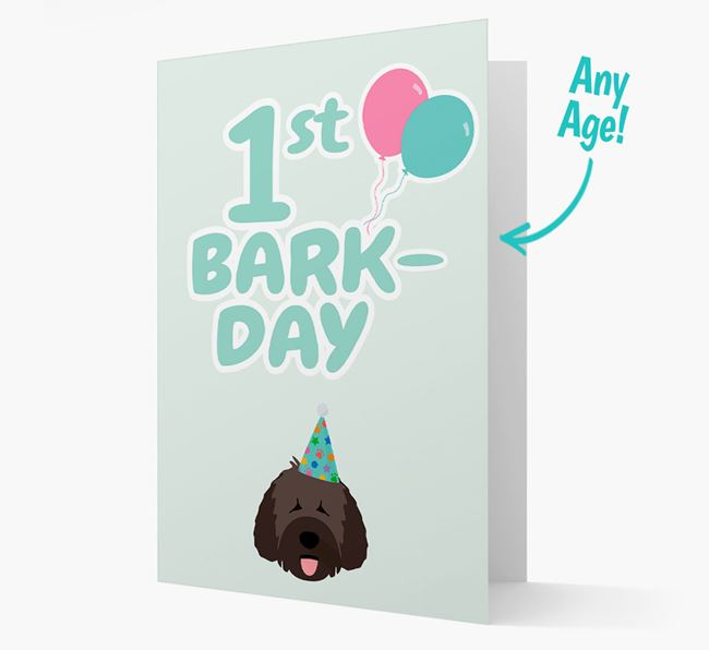 'Ages 1-18' Bark-day Card with Spanish Water Dog Icon