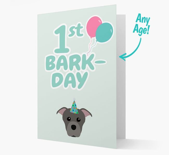 'Ages 1-18' Bark-day Card with Staffordshire Bull Terrier Icon