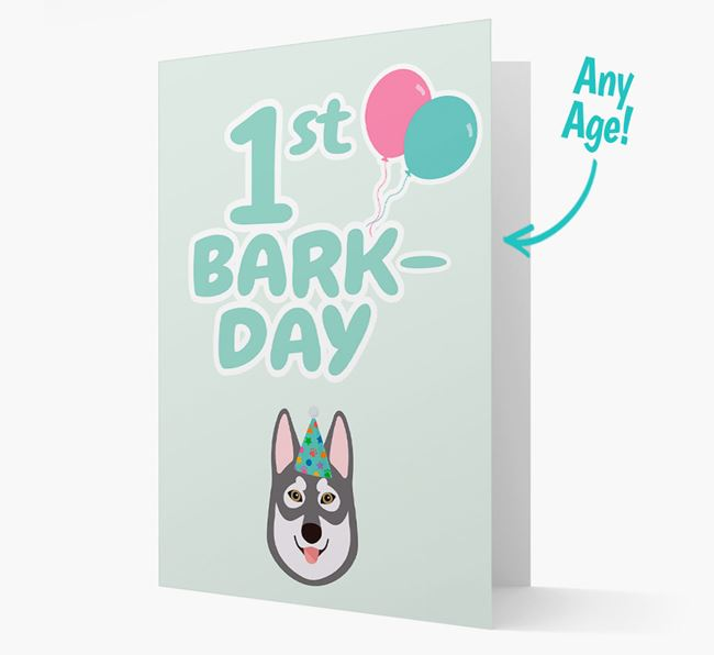 'Ages 1-18' Bark-day Card with Tamaskan Icon