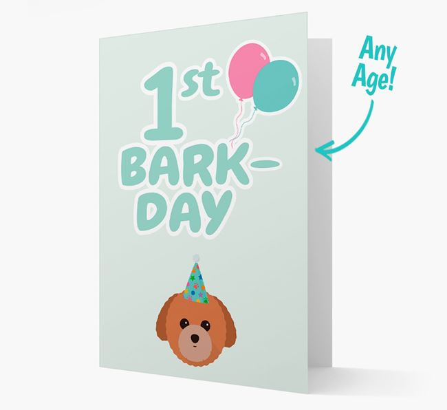 'Ages 1-18' Bark-day Card with Toy Poodle Icon