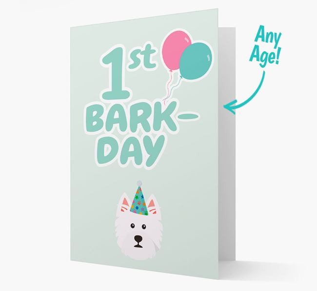'Ages 1-18' Bark-day Card with West Highland White Terrier Icon
