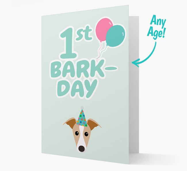 'Ages 1-18' Bark-day Card with Whippet Icon