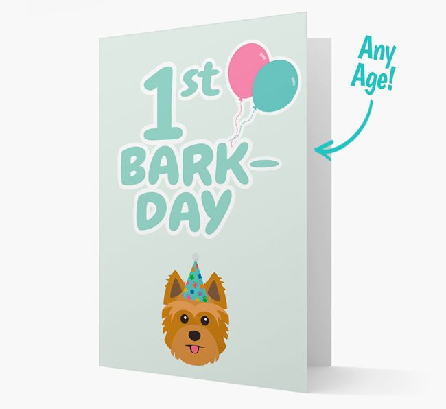 'Ages 1-18' Bark-day Card with Yorkshire Terrier Icon