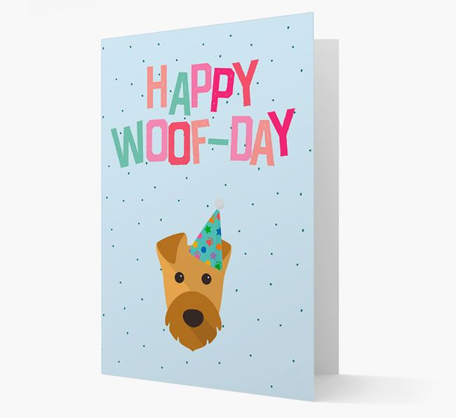 'Happy Woofday' Card with Airedale Terrier Icon