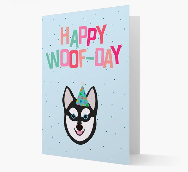 'Happy Woofday' Card with Alaskan Klee Kai Icon