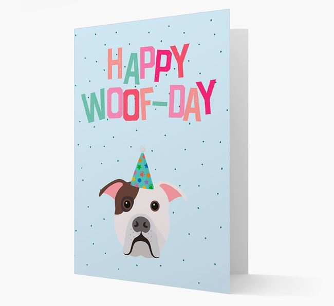 'Happy Woofday' Card with American Bulldog Icon