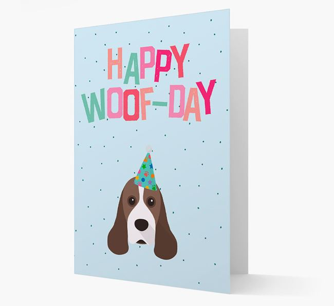 'Happy Woofday' Card with American Cocker Spaniel Icon