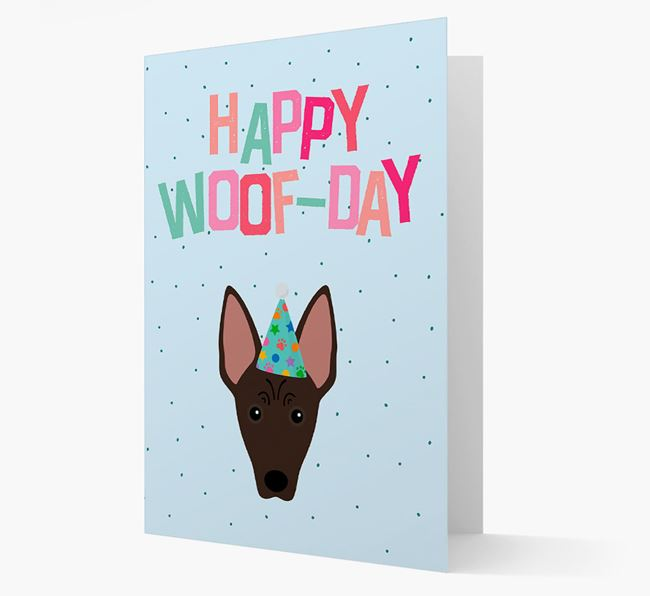 'Happy Woofday' Card with American Hairless Terrier Icon