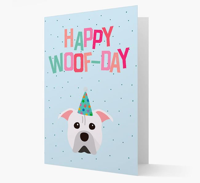 'Happy Woofday' Card with American Pit Bull Terrier Icon