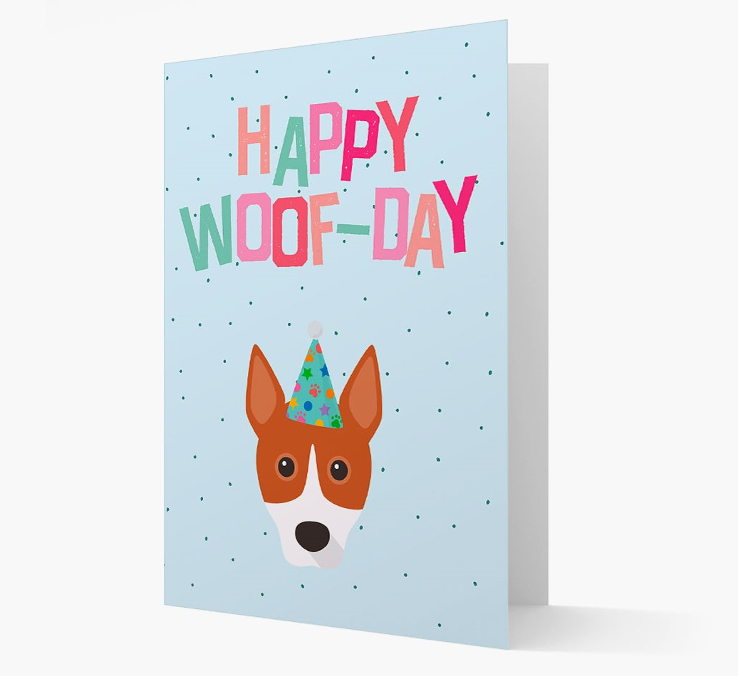 'Happy Woofday' Card with Basenji Icon