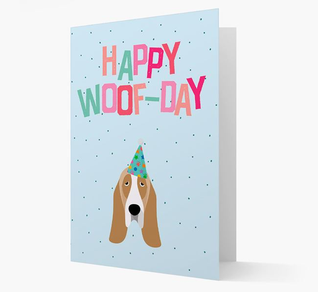 'Happy Woofday' Card with Basset Hound Icon