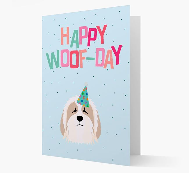 'Happy Woofday' Card with Bearded Collie Icon