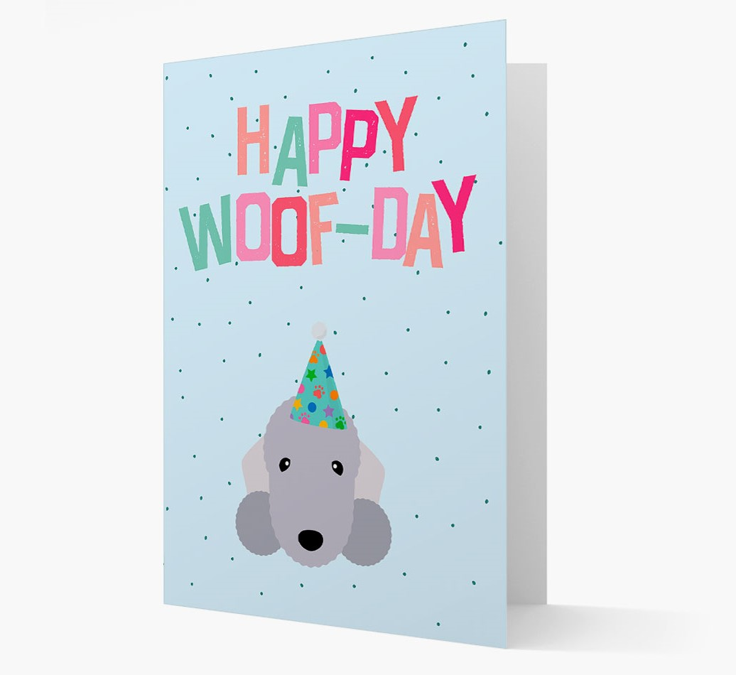 'Happy Woofday' Card with Bedlington Terrier Icon