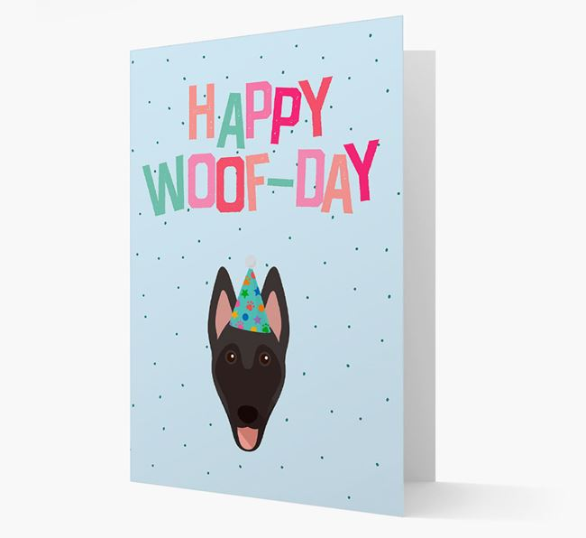 'Happy Woofday' Card with Belgian Malinois Icon