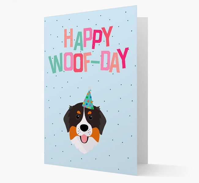'Happy Woofday' Card with Bernese Mountain Dog Icon
