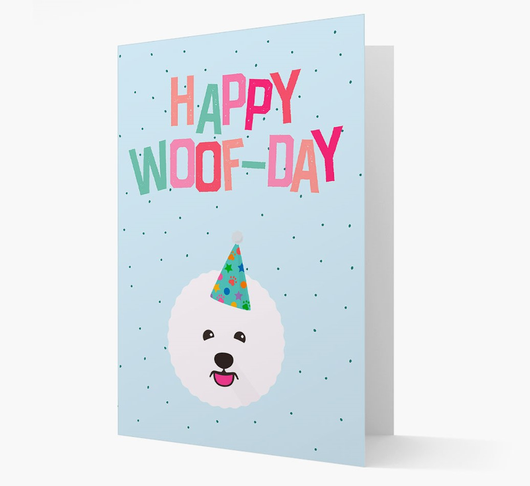 'Happy Woofday' Card with Bichon Frise Icon