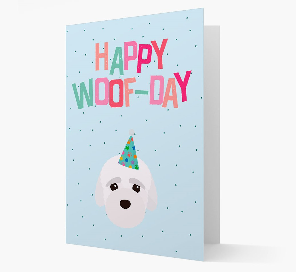 'Happy Woofday' Card with Bich-poo Icon
