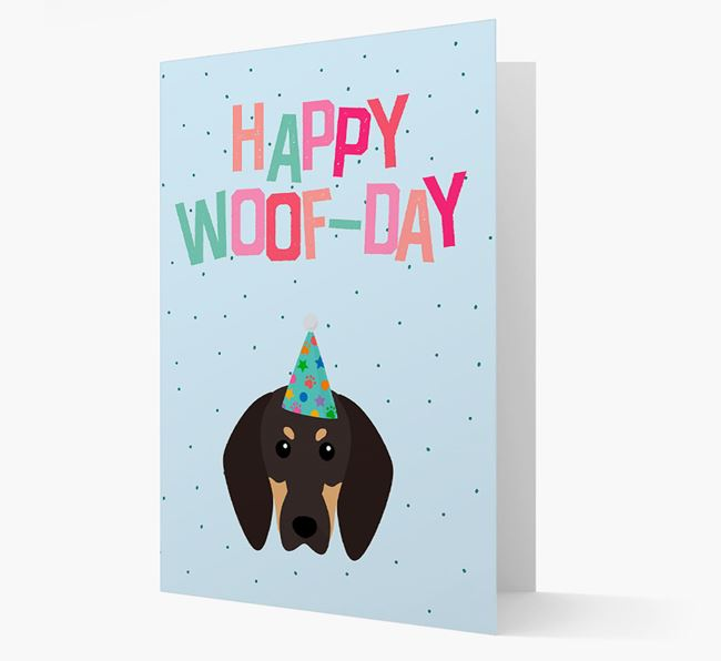 'Happy Woofday' Card with Black and Tan Coonhound Icon