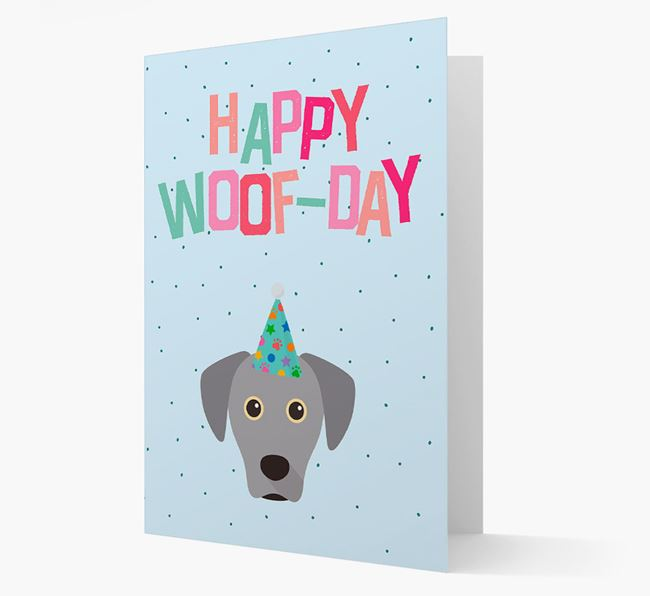 'Happy Woofday' Card with Blue Lacy Icon