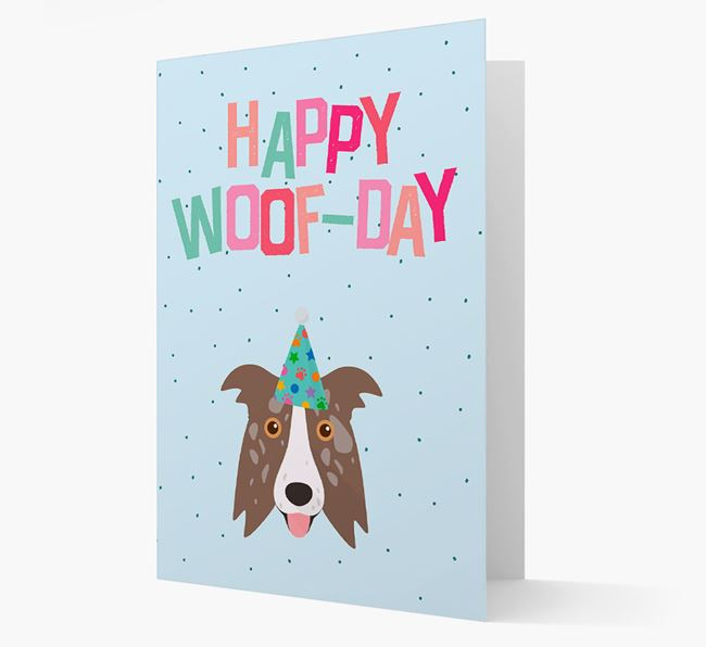 'Happy Woofday' Card with Border Collie Icon