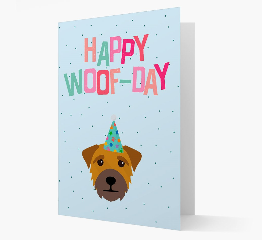 'Happy Woofday' Card with Border Terrier Icon