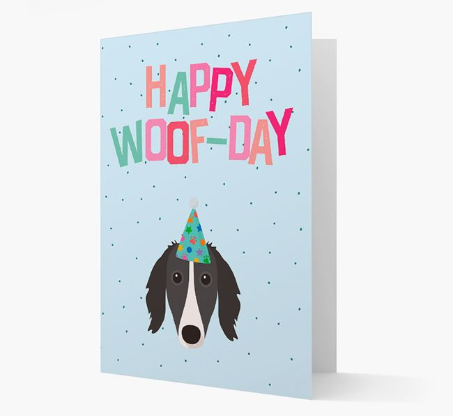 'Happy Woofday' Card with Borzoi Icon