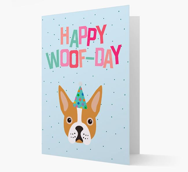 'Happy Woofday' Card with Boston Terrier Icon