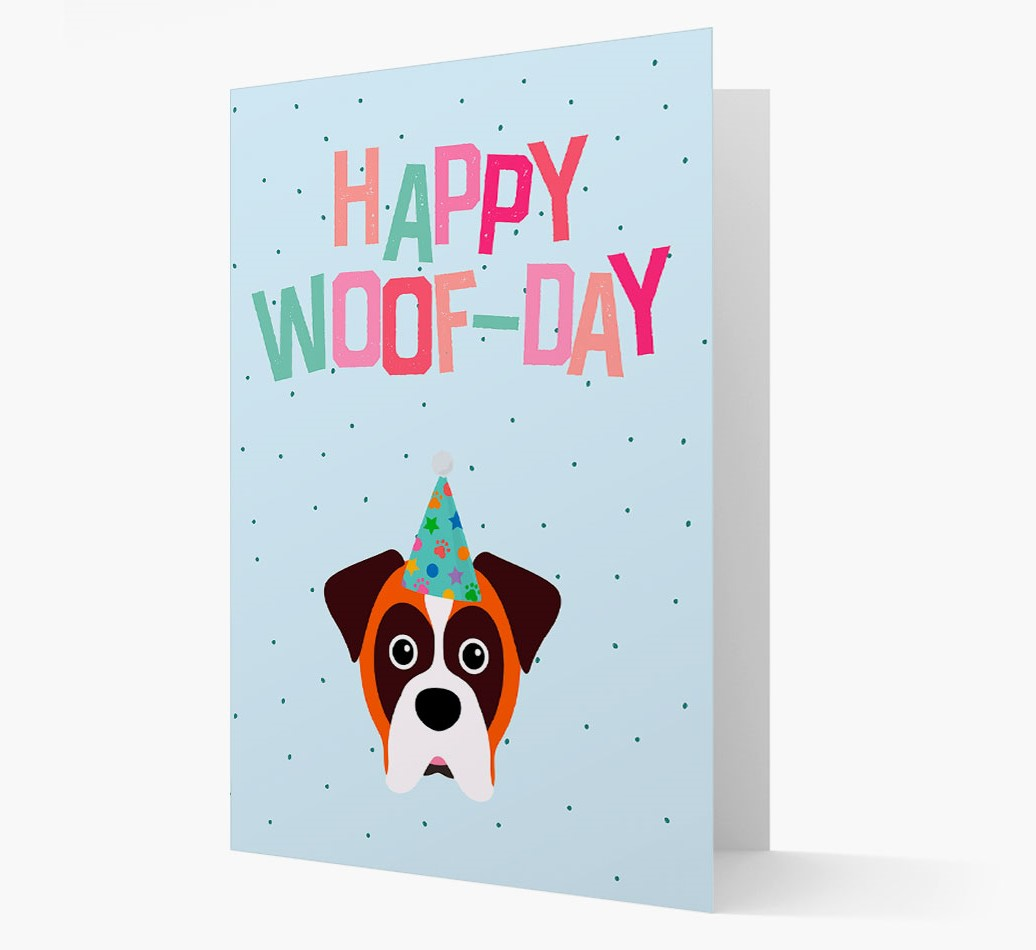 'Happy Woofday' Card with Boxer Icon