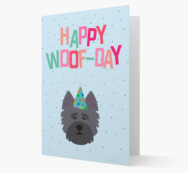 'Happy Woofday' Card with Cairn Terrier Icon