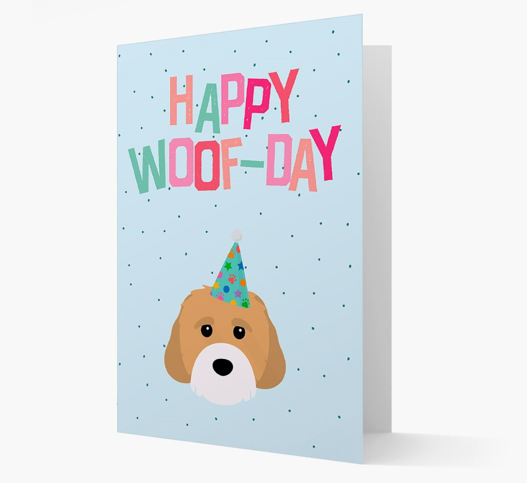'Happy Woofday' Card with Cavachon Icon