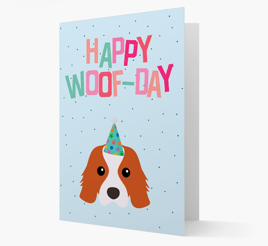 'Happy Woofday' Card with Cavalier King Charles Spaniel Icon