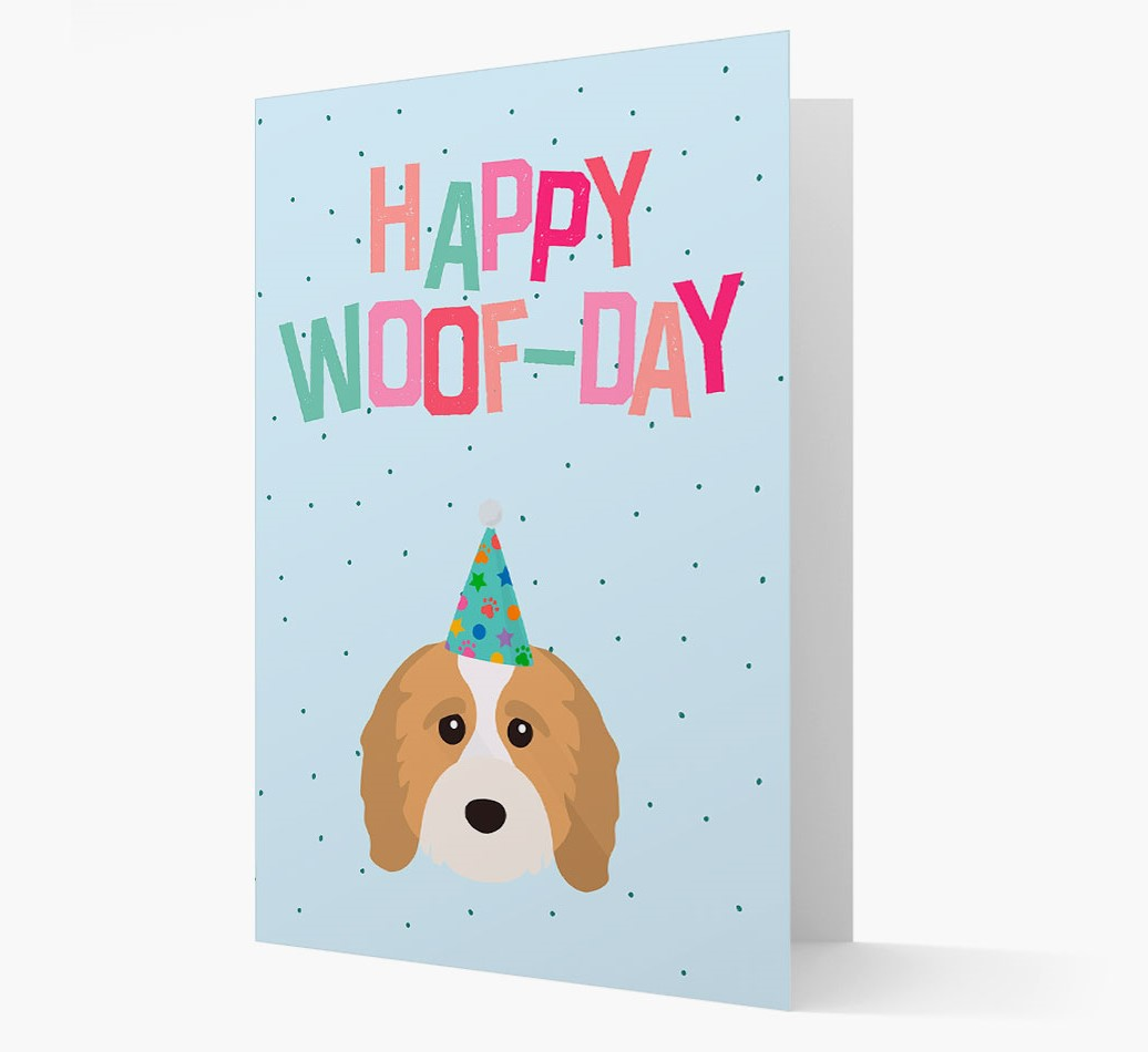 'Happy Woofday' Card with Cavapoo Icon
