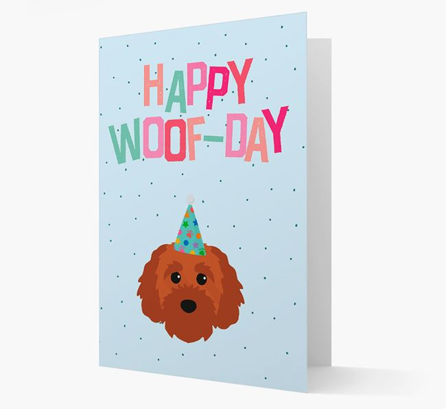 'Happy Woofday' Card with Cavapoochon Icon