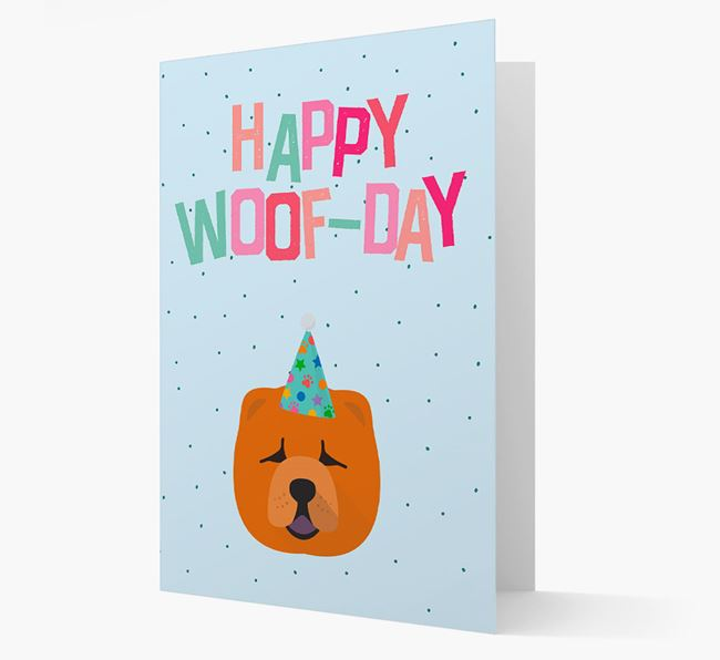 'Happy Woofday' Card with Chow Chow Icon