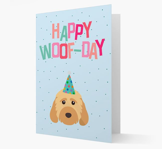 'Happy Woofday' Card with Cockapoo Icon