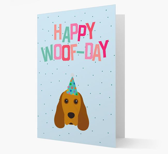 'Happy Woofday' Card with Cocker Spaniel Icon