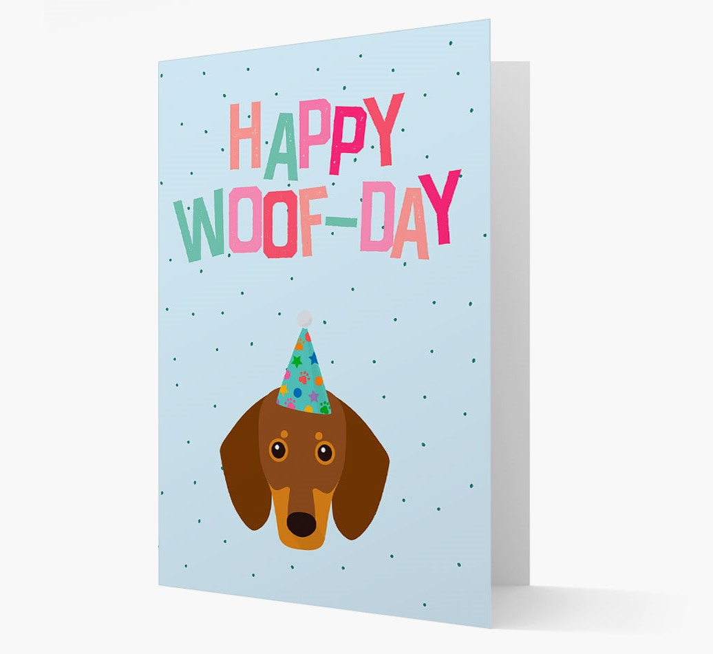 'Happy Woofday' Card with Dachshund Icon