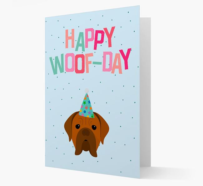 'Happy Woofday' Card with Dogue de Bordeaux Icon