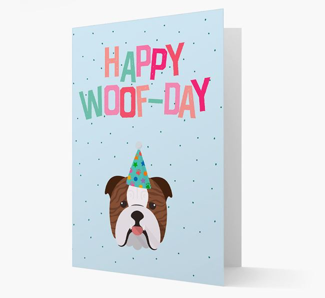 'Happy Woofday' Card with English Bulldog Icon