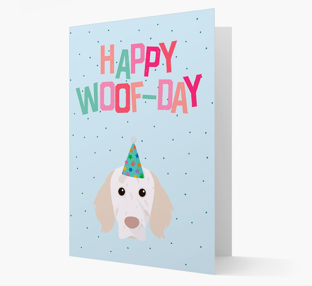 'Happy Woofday' Card with English Setter Icon