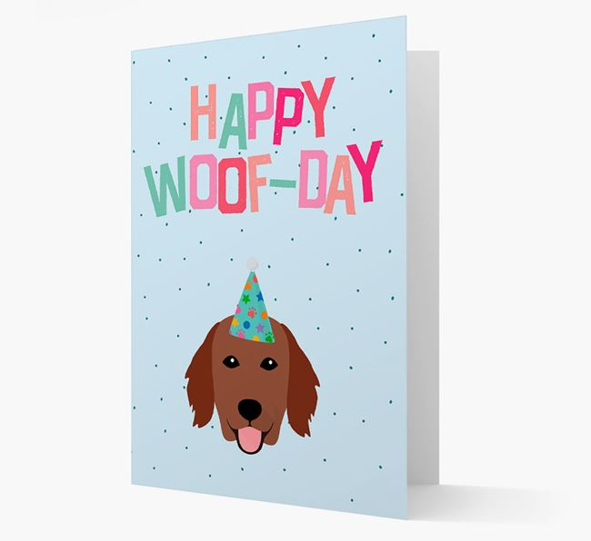 'Happy Woofday' Card with Flat-Coated Retriever Icon